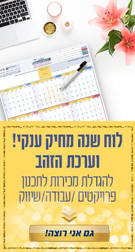 לוח שנה מחיק לתכנון שנתי