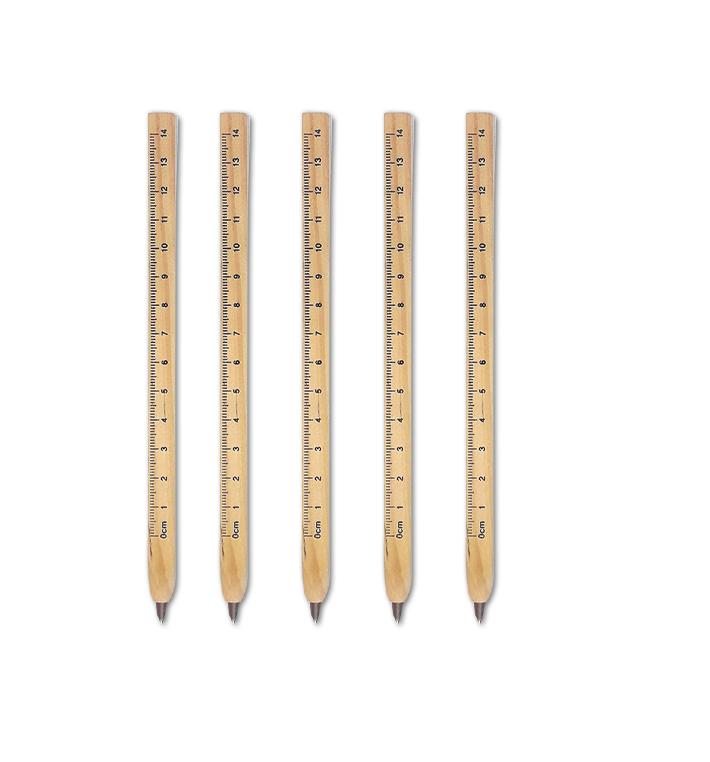 עט מבלוק עץ וסרגל - מארז של 5 עטים