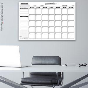 לוח חודשי מגנטי שחור לבן